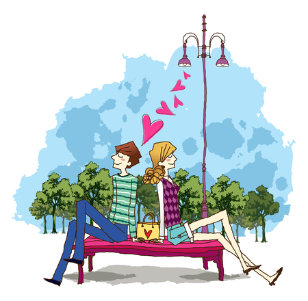 Side view of man and woman sitting on bench