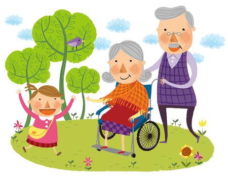 Elderly woman on wheel chair Illustration