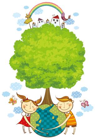 Children loving the globe
