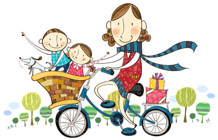 computer animation: Mother & children on bicycle Illustration