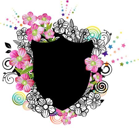 label with flora design Banco de Imagens - 78832850