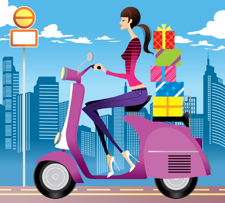 Side view of woman with gifts on scooter