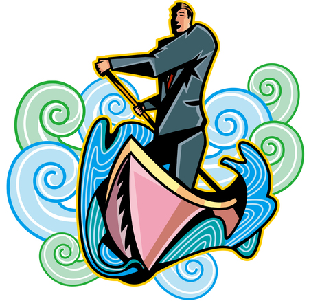 Businessman in boat, holding oar