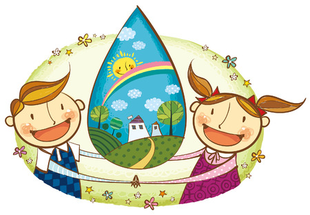 Portrait of children holding eachother hand with clean environment Illustration