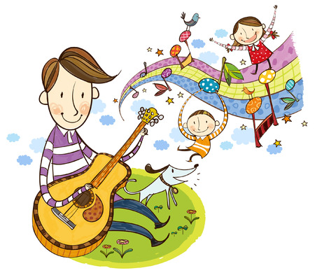 Father playing violin with children Imagens - 78832906