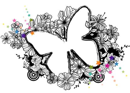 Butterfly shape with flora design Ilustração