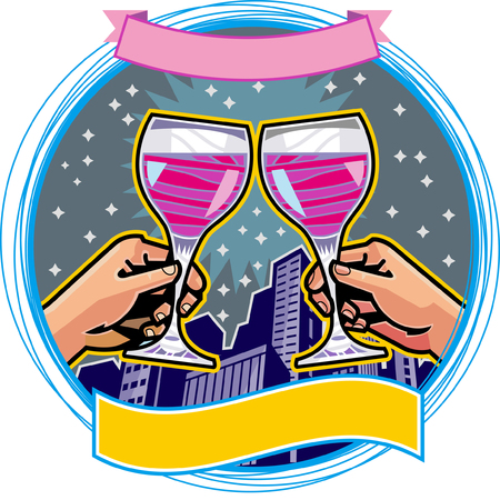 Close-up of hands toasting with wineglasses