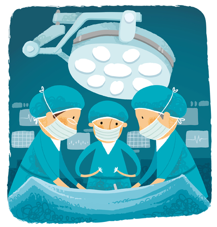 surgical glove: Surgical team performing surgery in hospital Illustration