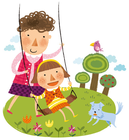 mother & daughter playing in garden swing Illustration