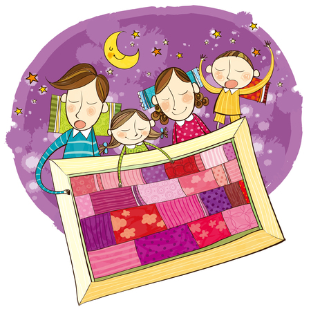 unafraid: Family sleeping in one quilt at night