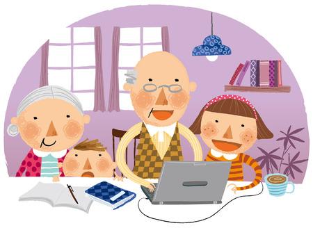 조부모와 함께한 손자