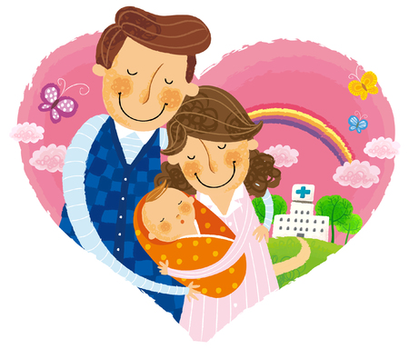 happy couple: Couple leaving with new born baby from hospital Illustration