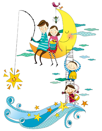 happy couple: Family collecting stars Illustration