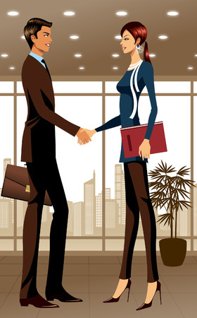 creative arts: Two business people shaking hands in office