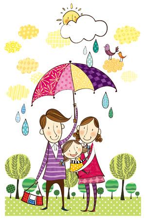 unafraid: Portrait of family in rainy season Illustration
