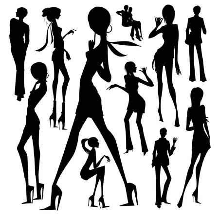 Set of silhouette of the woman isolated on white background