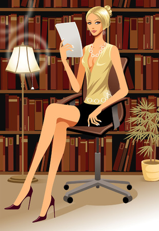 creative arts: Businesswoman reading a document Illustration