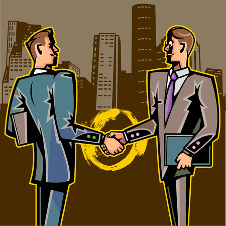 Side view of businessmen shaking hands