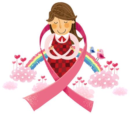 Portrait of woman around AIDS awareness ribbon