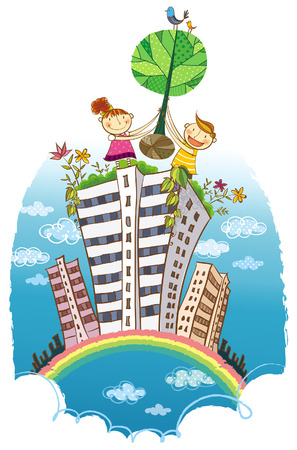 建物の上の木を運ぶ二人の子供