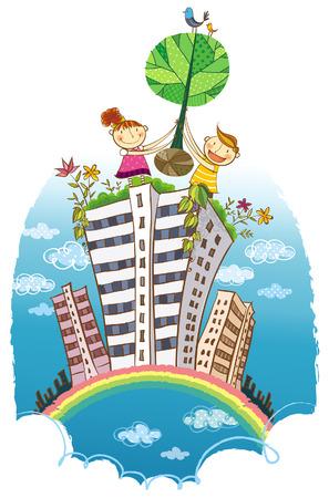 Dos niños llevando un árbol sobre el edificio Foto de archivo - 78834077
