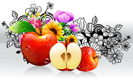 creative arts: Apple fruits with flora design