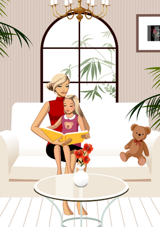 Daughter sitting on mothers lap, reading book Illustration
