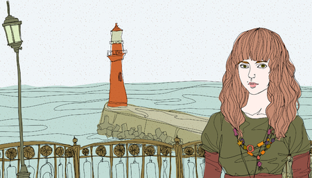 horizon over land: Portrait of young woman standing by railing, light house in background