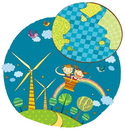 man flying: Children in air balloon