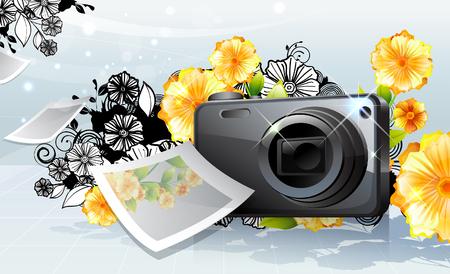 Photo camera and photo, with flora design Ilustração