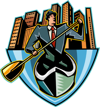 paddles: Businessman holding oar, skyscrapers in background