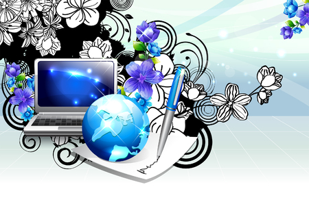 illustrating: Laptop and globe with flora design