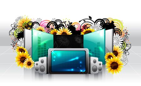 Screen and large speaker with flora design