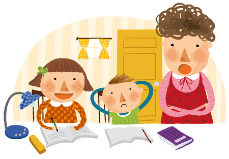 Mother taking studies of her two children Illustration