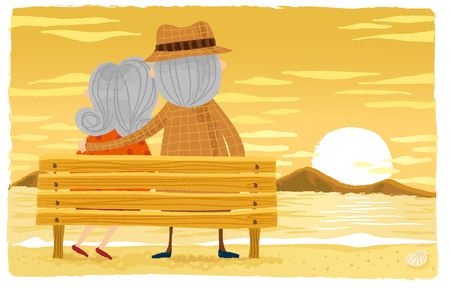 Elderly couple sitting on wooden bench 向量圖像