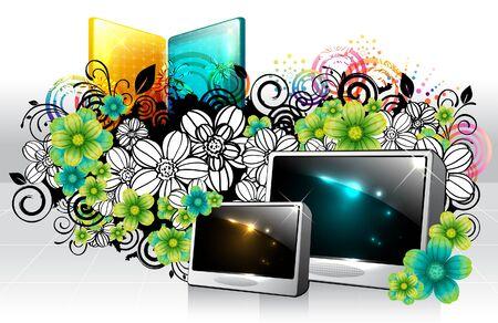 Digital frame with flora design