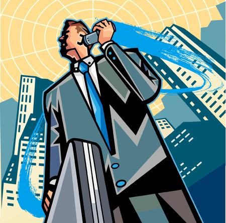 Low angle view of businessman holding suitcase, talking on mobile phone Ilustração