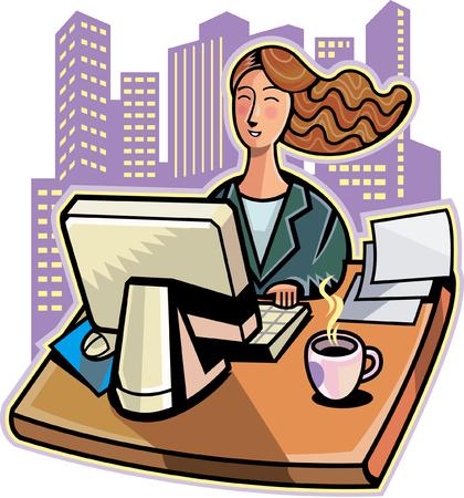 keyboard: Young businesswoman working on desktop pc Illustration