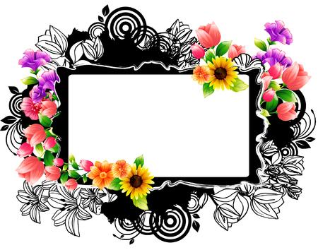 Rectangular frame with flora design Ilustração