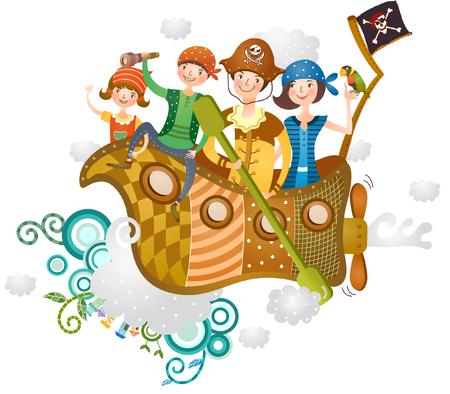 family enjoying ship journey
