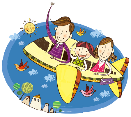 creative arts: Family travelling in aeroplane Illustration