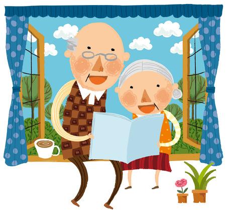Lteres Paar sitzt auf Fensterwand Lesebuch Standard-Bild - 78834038