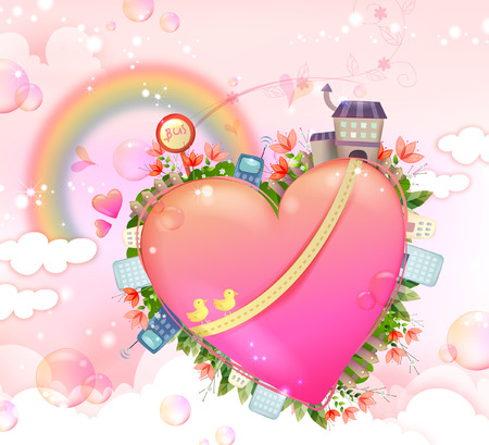 Heart shape and various facility available Illustration