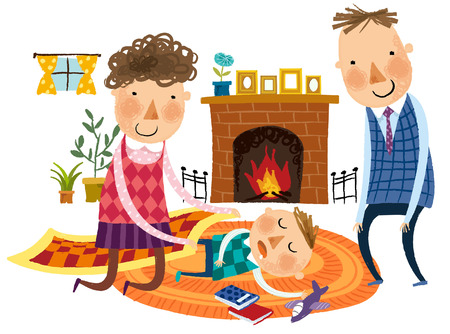 happy couple: parents taking care of boy child Illustration