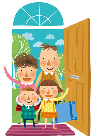 Family arriving at home