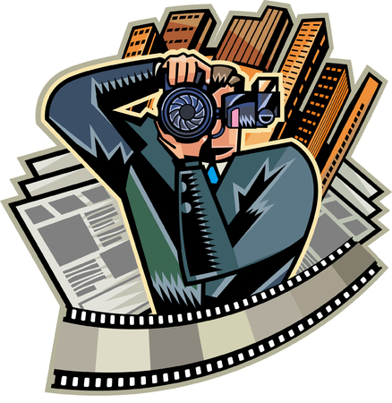 Close-up of man holding camera, skyscrapers in background Illustration