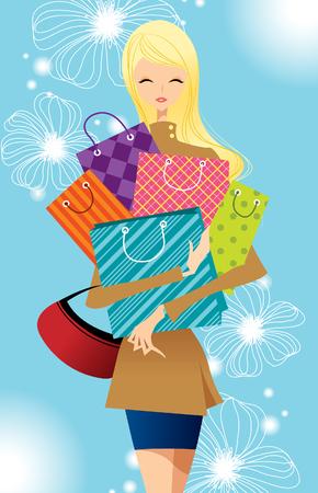 Portrait of teenager girl holding shopping bags Illustration