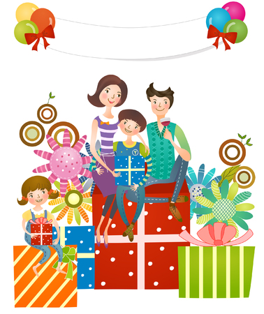 computer animation: Family sitting on gifts