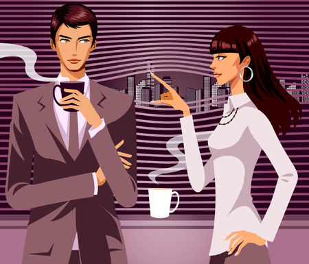 hot couple: Businessman looking at woman with a cup of Coffee in his hand