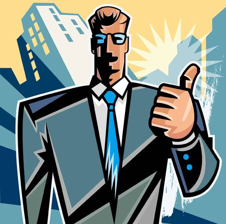Businessman showing off thumbs up
